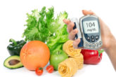 Glucose Level Blood Test Meter In Hand And Healthy Organic Food